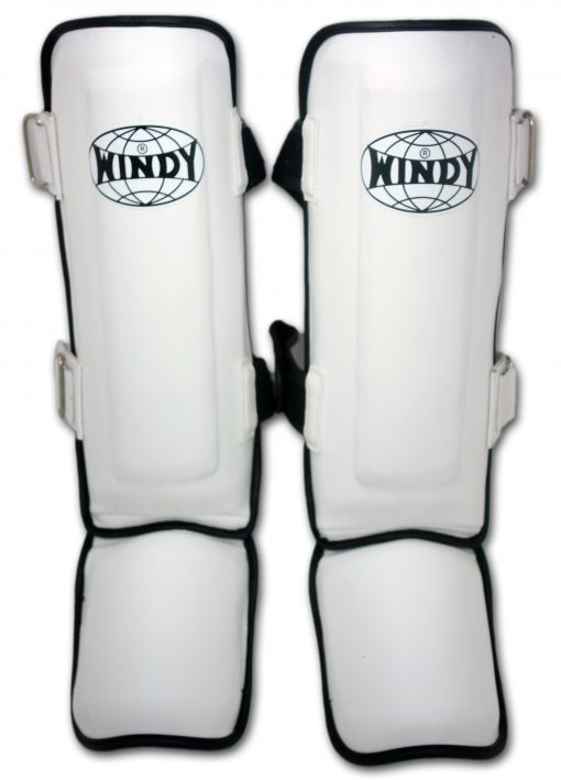 Windy Leather Shin Guards (LPL) White