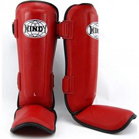 Windy Leather Shin Guards (LPL) Red