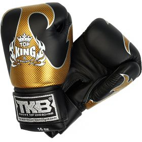 Top King Boxing Gloves Empower Black Gold