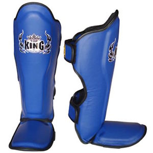 Top King Pro Leather Shin Guards Blue