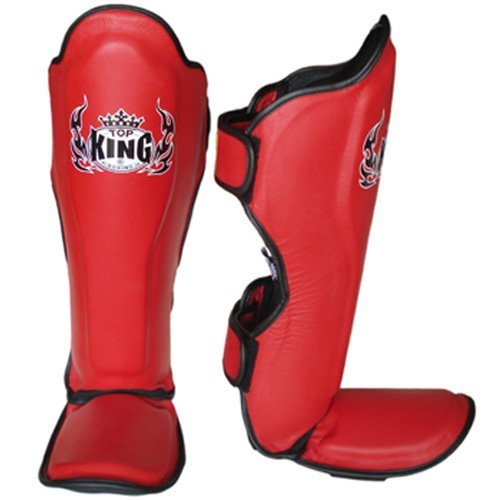 Top King Pro Leather Shin Guards Red