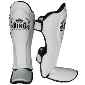 Top King Pro Leather Shin Guards White