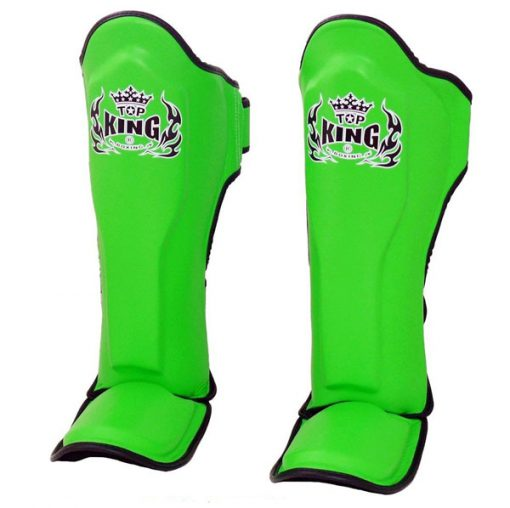 Top King Pro Leather Shin Guards Green