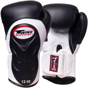 Twins Embossed Boxing Gloves (BGVL6) - Black/White