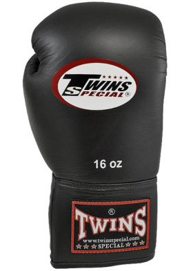 Twins Lace Up Boxing Gloves (Black)-0