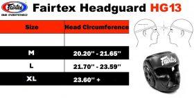 Fairtex HG13 Size chart
