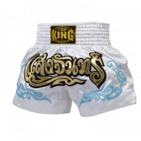 White Top King Muay Thai Shorts TKTBS053