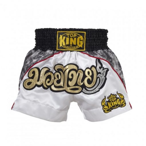 White/Grey Top King Muay Thai Shorts TKTBS-072