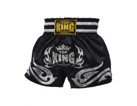 Black Silver Top King Muay Thai Shorts TKTBS094