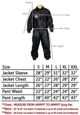 Size Chart Twins Sauna Suit VSS-1