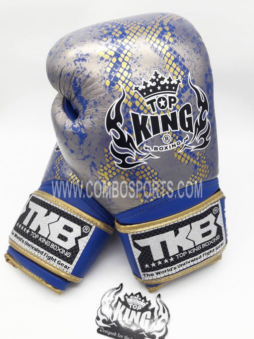 Top King Snake Boxing Gloves - Blue/Gold