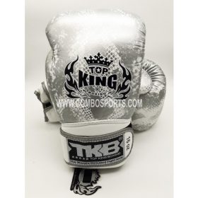 Top King Snake Boxing Gloves - White/Silver