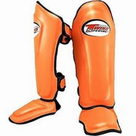 Twins Leather Shin Guards (SGL-10) Orange
