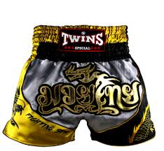Twins Muay Thai Shorts - TBS-Dragon-1 (Grey/Gold/Black)