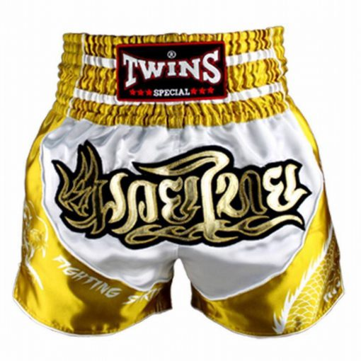 Twins Muay Thai Shorts - TBS-Dragon-2 (White/Gold)