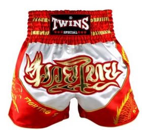 Twins Muay Thai Shorts - TBS-Dragon-5 (White/Red)