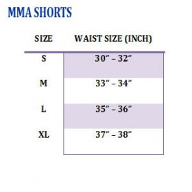 Fairtex MMA Board Shorts - Size Chart