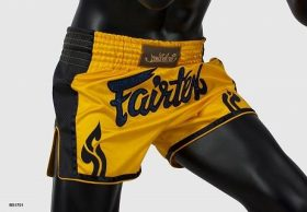 Fairtex Slim Cut Muay Thai Shorts - Yellow/Black BS1701